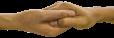 Hand die een andere hand vasthoudt.
